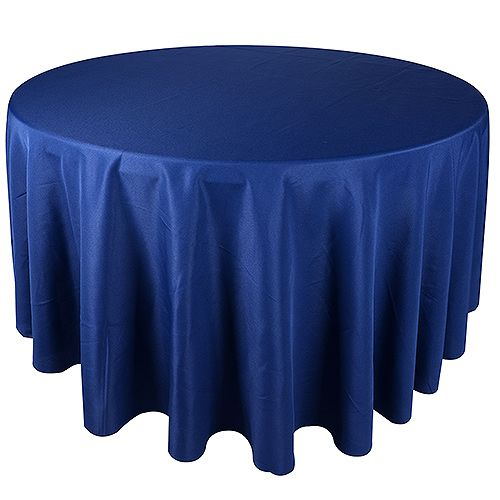 "Navy blue round tablecloths, size: 90"" made of polyester. Perfect for weddings & any occasions. Wholesale prices available."