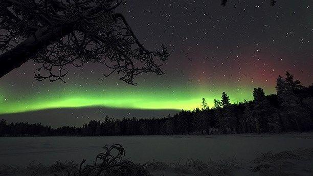 Norrsken över Luossavaara, Kiruna. Foto: Patrik Hansson.