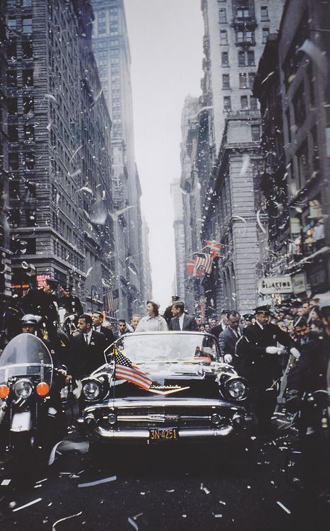 Senator and Mrs. Kennedy in 1960, campaigning for president in Manhattan, in a 1957 Chevrolet Bel Air convertible.