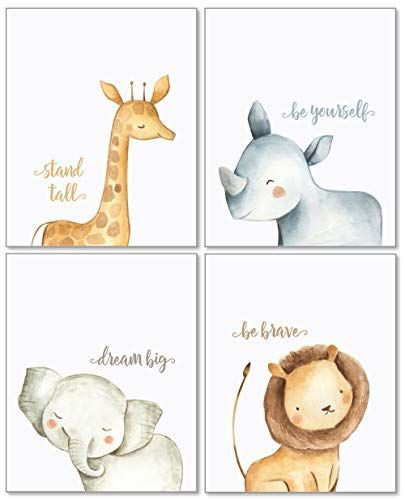 Confetti Fox Safari Baby Animals Nursery Wall Art Decor – 8×10 Unframed Set of 4 Prints – Boy Girl Kids Watercolor Quotes Bedroom Bathroom Decorations – Giraffe Rhino Elephant Lion   – Rock Art