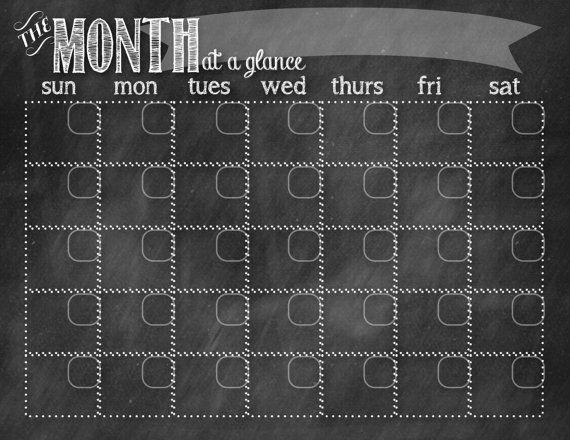 Chalkboard Calendar by HomeMadeStew on Etsy, $6.00