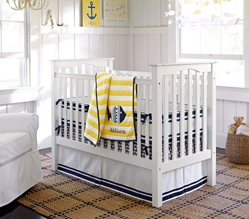 nautical themed nursery from the pottery barn the navy and white is the bedding i registered for no nautical though - Pottery Barn Babies Room