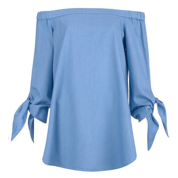 Tibi Women's Off Shoulder Tunic - Brilliant Denim (280 CAD) ❤ liked on Polyvore featuring tops, tunics, shirts, blue, dresses, tunic, tibi tunic, tibi, off shoulder shirt and off the shoulder tunic