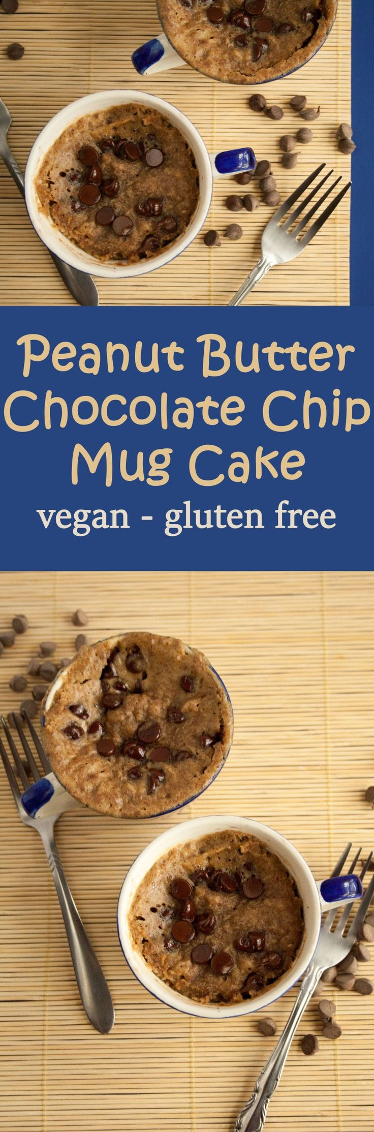 Peanut Butter Chocolate Chip Mug Cake (vegan, gluten free) - This moist mug cake is the perfect balance of sweet and savory with peanut butter and chocolate.