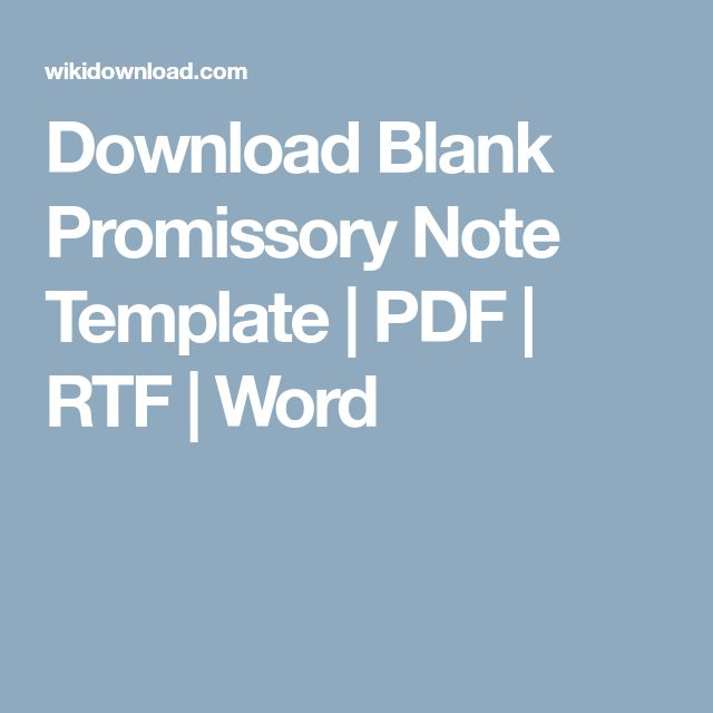 Download Blank Promissory Note Template | PDF | RTF | Word