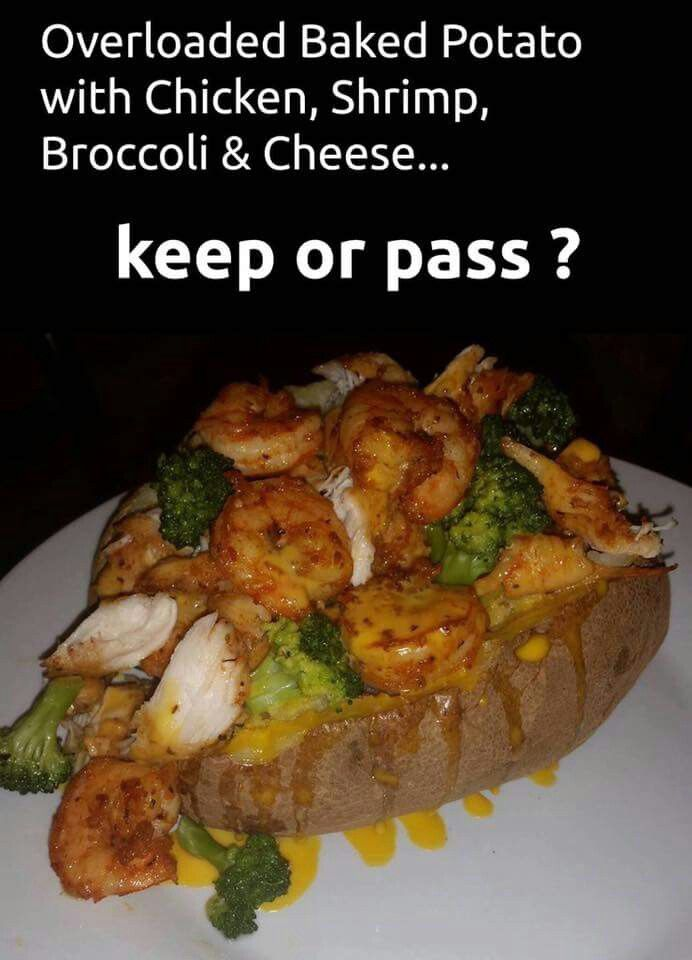 Overloaded Baked Potatoes with Chicken, Shrimp, Broccoli & Cheese