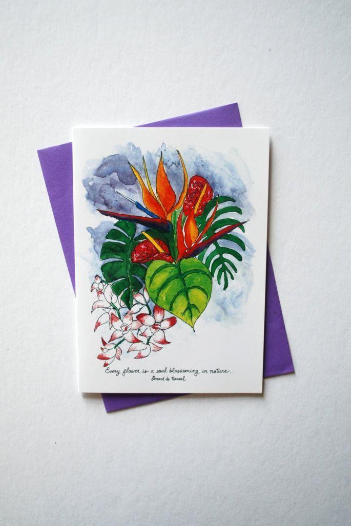 Bird of Paradise Flowers Condolence Greeting Card + Envelope