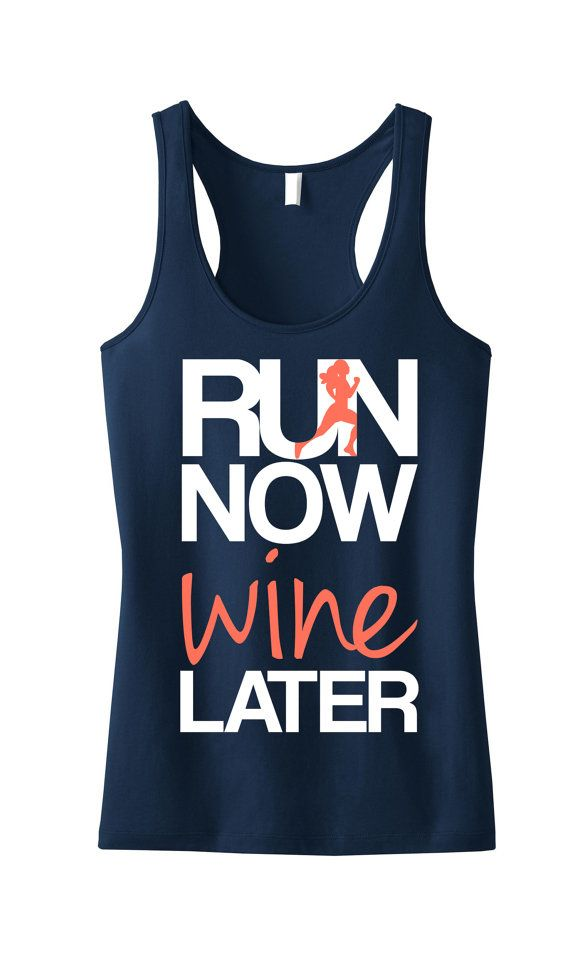 Great Tank top to #Run a #Marathon or errands! RUN Now WINE Later Navy Racerback Tank with Coral print. By NobullWomanApparel, $24.99 on Etsy. #Running