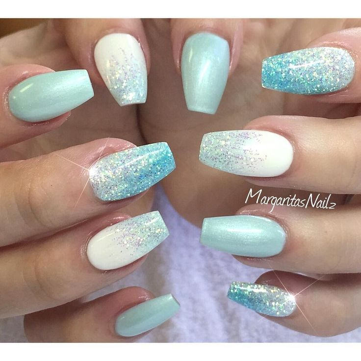 Glittery Tiffany Blue Ombre Ballerina Nails
