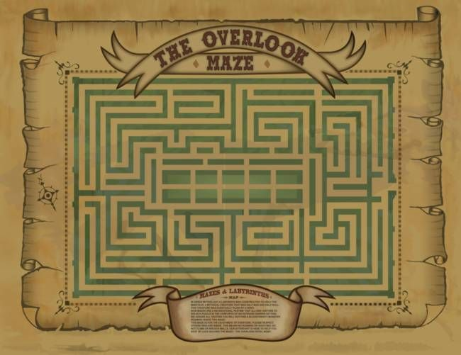 """""""Overlook Hotel Maze Map"""" by Dave Delisle: A replica of the map posted outside the maze of the Overlook Hotel, as seen in the film The Shining"""