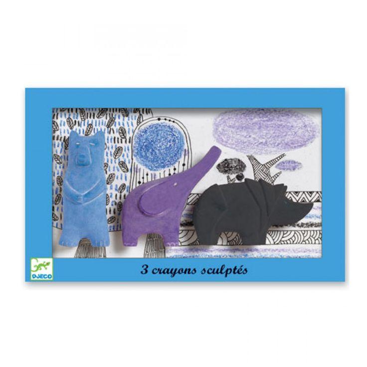 Κηρομπογιές σε παστέλ αποχρώσεις σε τρία διαφορετικά σχήματα, ρινοκεράκι, ελεφαντάκι και αρκουδάκι.  Κατάλληλο από την ηλικία των 2 ετών.  Από την Djeco