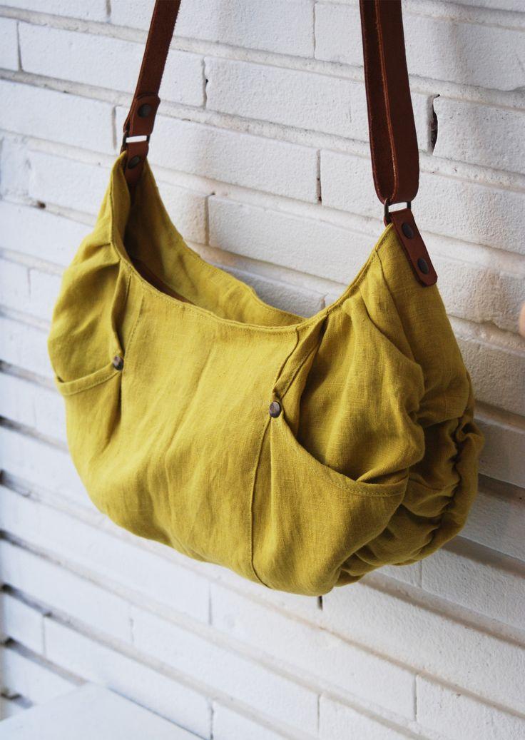 sac dt sac fait main sac main en lin jaune - Sac A Main Color