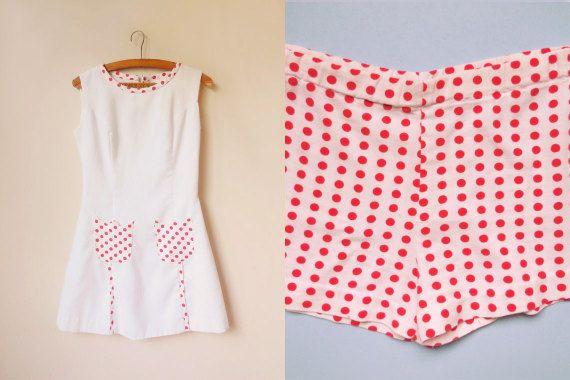 vintage 1960s white mod mini dress with polka by starseedvintage