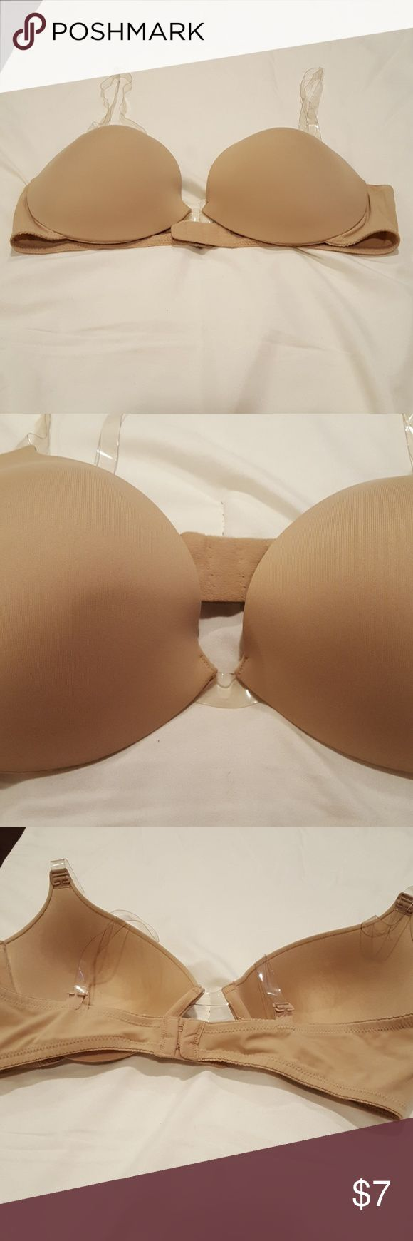 Sweet Nothings bra with clear straps.  Size 38C Sweet Nothings bra beige with clear strap and underwire.  Size 38C.excellent pre owned condition Sweet Nothings Intimates & Sleepwear Bras