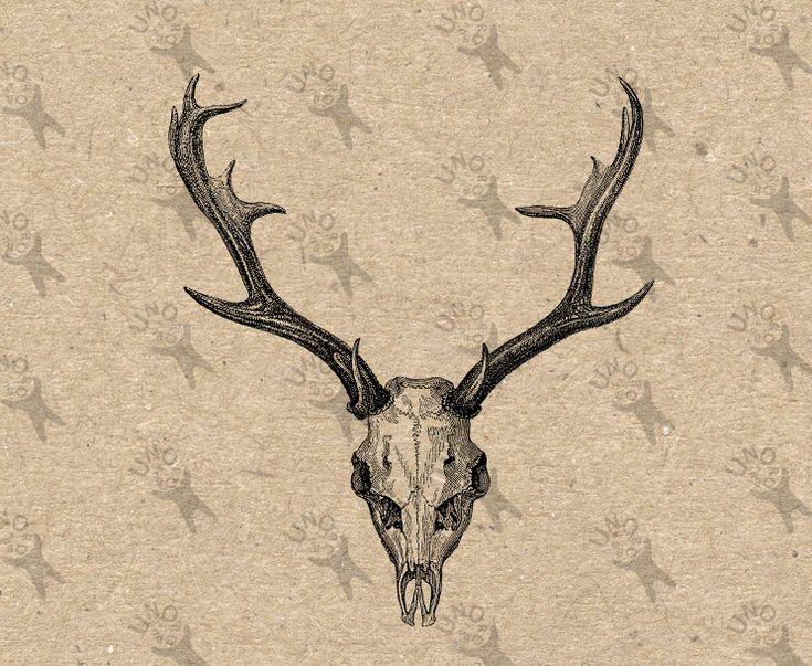Deer Skull Horns Vintage Image Instant Download picture Digital printable clipart  graphic stickers scrapbooking burlap paper kraft HQ300dpi by UnoPrint on Etsy