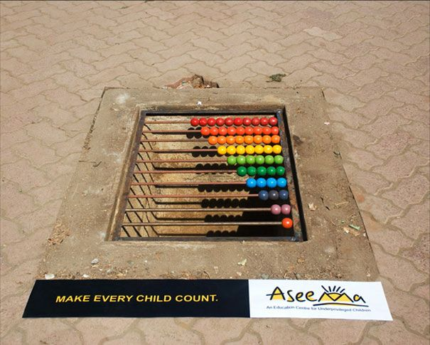 Aseema Charitable Trust's  'Education for Street Children' advertisement (Mumbai) - photo from BoredPanda