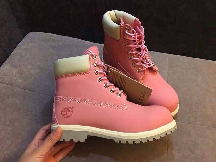 pink and white timberland 6inch womens