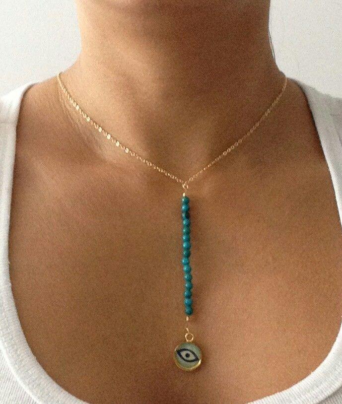 Collar Ojo Turco con Turquesas. Diseño exclusivo de @LapizLazuliacce. Visita nuestra tienda online www.lapizlazuliaccesorios.com. Siguenos en instagram @Lapizlázuliaccesorios.