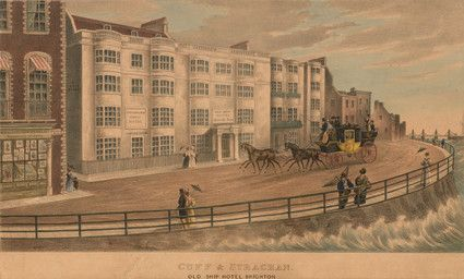 The London to Brighton Coach driving along King's Road past 'Old Ship Hotel'. Sign on hotel building to left reads 'Cuff & Strachan family Hotel'. To left shop window of W.H.Mason from Ackerman's Repository of Arts. The entrance to Ship Street can be seen on the left;  The Chain Pier can be seen in the distance far right. Situated on King's Road the Old Ship Hotel is the oldest in Brighton. The Assembly Rooms behind were built in 1767, the entrance demolished in 1895.