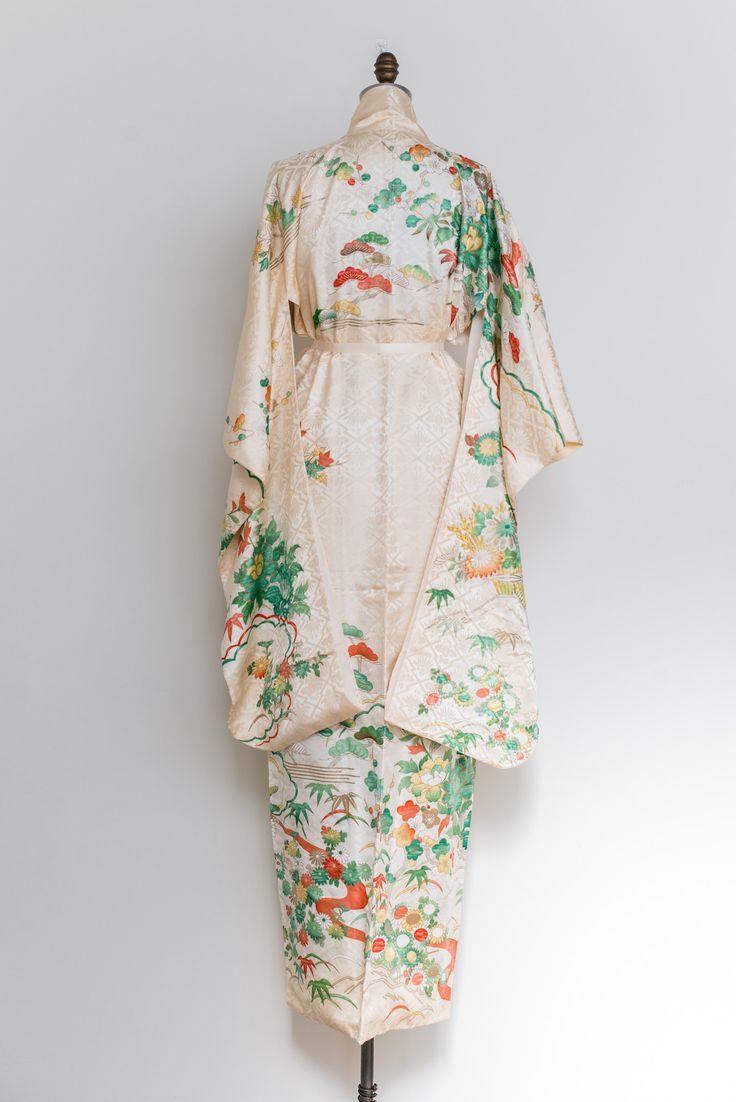Vintage Silk Green Floral Kimono - One Size