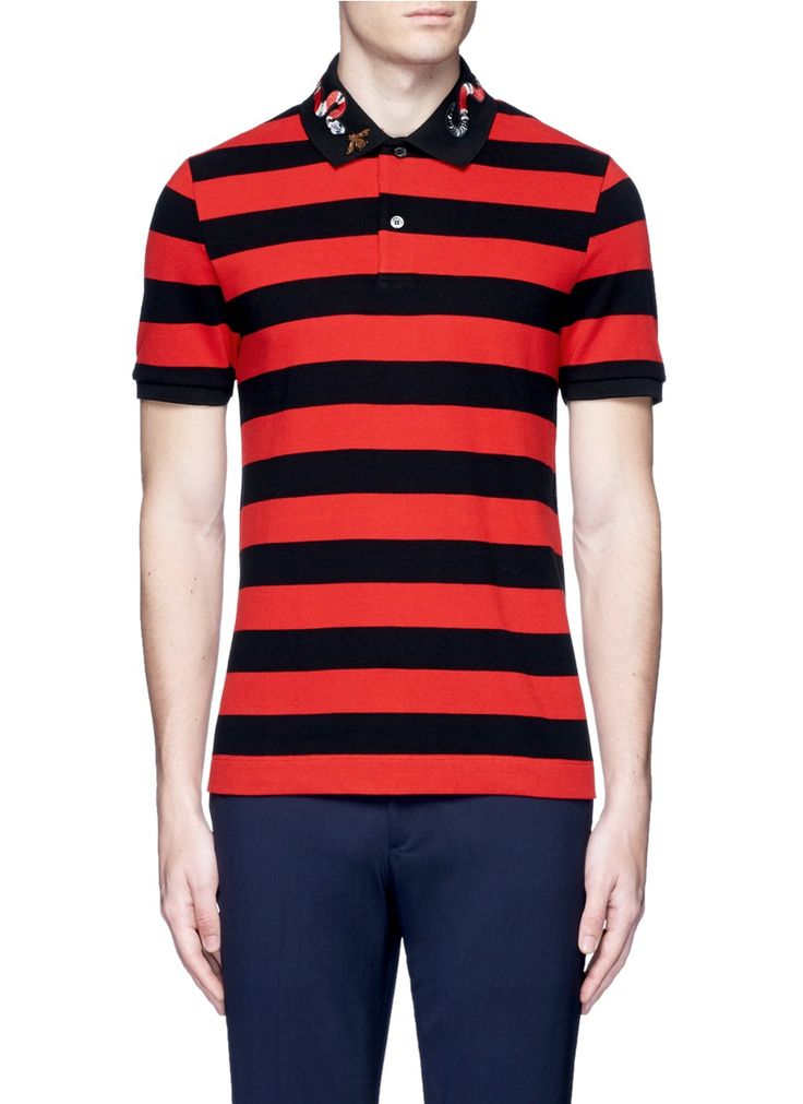 Gucci snake and bee embroidery stripe polo shirt
