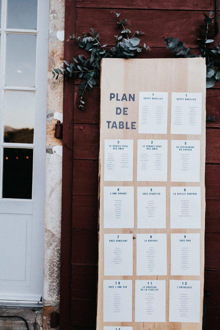plan de table en bois naturel graphisme bleu. Black Bedroom Furniture Sets. Home Design Ideas