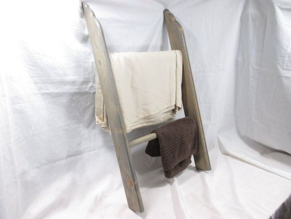 """Mini Ladder Towel Rack, 2.5' tall 16.5"""" wide, Two Rungs ~ Stained"""