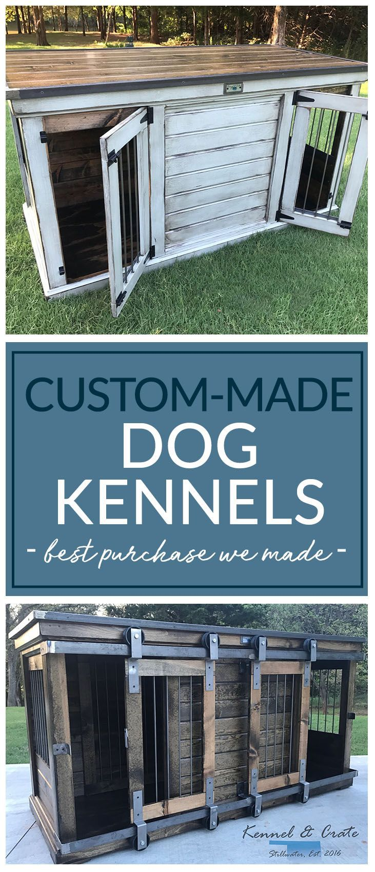 Kennel & Crate's double kennels feature an interior door that allows the space to be divided into two separate kennels for one dog or two! Replace your wire crates with architecturally sound pieces of furniture. #Kennelandcrate #Indoorkennels #Dog #Dogcrate #Funtionalfurniture #Kennelforyourbusiness