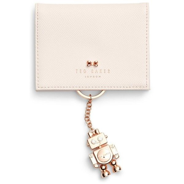 Women's Ted Baker London Leather Card Case With Robot Key Chain ($95) ❤ liked on Polyvore featuring bags, wallets, pale pink, ted baker, faux leather bag, genuine leather wallet, leather card holder wallet and pink wallet