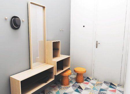 NÁVRH ZMĚNY V této variantě jsou vytvořené úložné prostory pro pár bot a drobností. Posezení při obouvání zajistí malé taburetky, které se dají zasunout pod otevřené skříňky, takže nezabírají moc místa. Úložné prostory se zrcadlem jsou umístěny do středu stěny, a proto umožňují otevření i druhého křídla dveří. Podlahu tvoří dominantnější dlažba, která vstup rozehraje. Nejsou už tedy třeba další barvy a vzory.