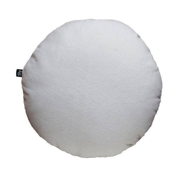 round cushion white felt / white interior trends / bedroom decor design / living room bits and pieces