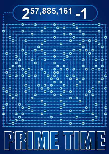 """""""Prime Time""""-Poster: Prime Numbers in Ulam Spiral"""