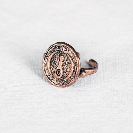 Mesele Bakır Mühür Yüzük - Kibele (Doğurganlık) Mesele Copper Seal Ring - Cybele (Life Giving)