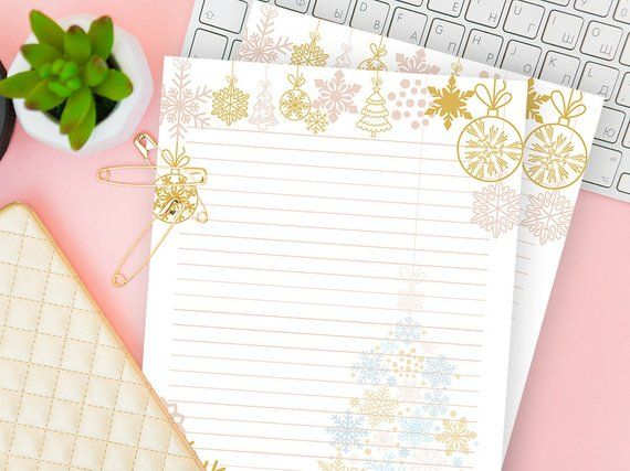 letter writing set digital christmas ruled notebook printable lined paper stationery sheet lines refill insert download gift for kids