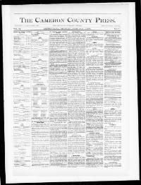 CAMERON COUNTY - EMPORIUM - About Cameron County press. (Emporium, Cameron County, Pa.) 1866-1922 « Chronicling America « Library of Congress