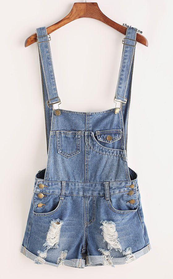Distressed Rolled Hem Overall Denim Shorts