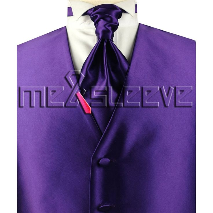 hot sale free shipping plain luxury purple waistcoat 4pcs (vest+ascot tie+cufflinks+handkerchief)