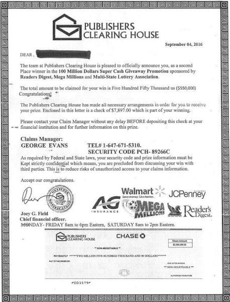 Publishers Clearing House Checks