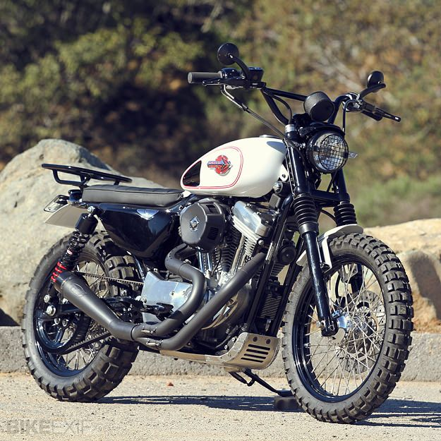 Think of a scrambler motorcycle, and most folks will picture a modern Triumph or a vintage BSA. But David Zemla, who runs Progressive Suspension and Burly Brand, decided to take a different tack. Could a Harley-Davidson Sportster be reconfigured for bombing down fire roads?