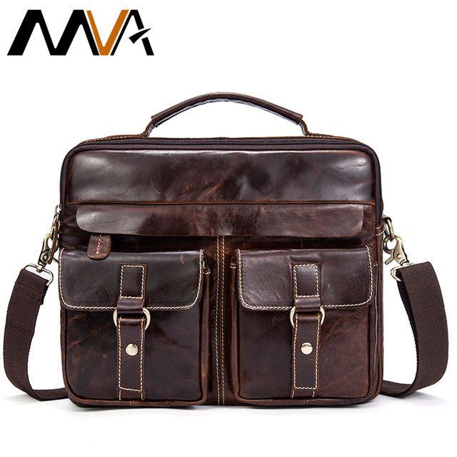 Good Value $42.48, Buy MVA Genuine Leather Men Bag Business Briefcase Messenger Handbags Men Crossbody Bags Men's Travel Laptop Bag Shoulder Tote Bags
