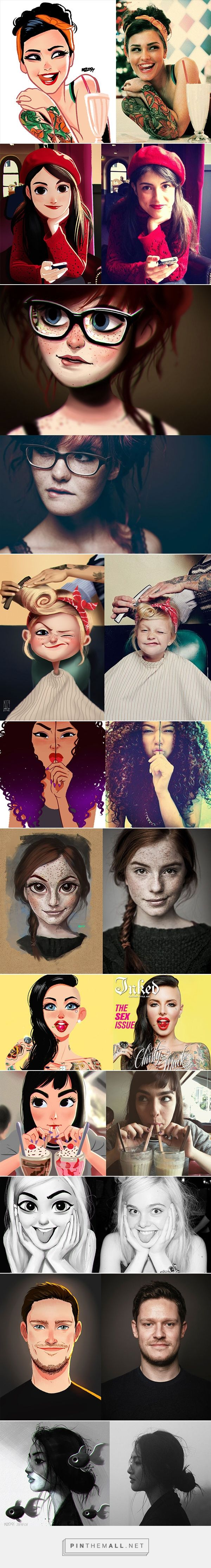 Stunning Digital Art Paintings of Random People – A Fun Series by Julio Cesar - created via http://pinthemall.net                                                                                                                                                                                 Más