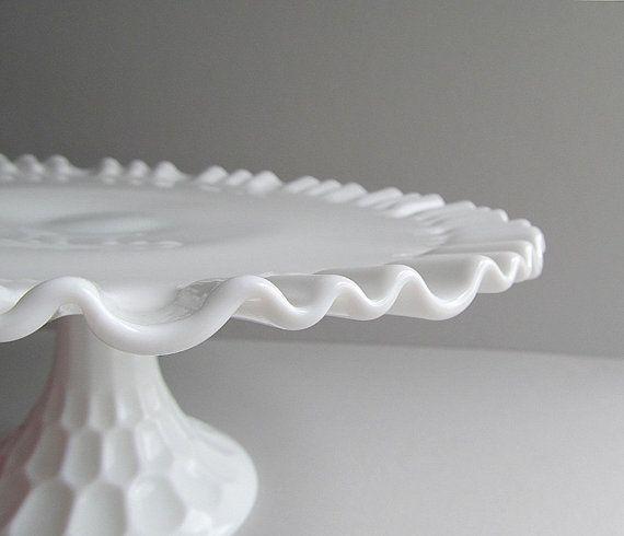 Vintage Milk Glass Cake Stand Pedestal Cake Plate