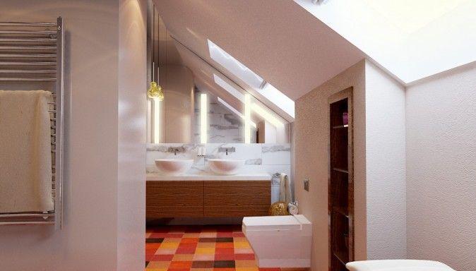 kolorystyka-kafelki - mała łazienka na piętrze