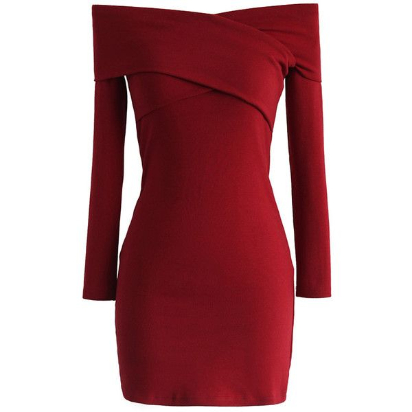 Chicwish Own the Charm Wrap Dress in Red ($42) ❤ liked on Polyvore featuring dresses, red, valentine's day dresses, short red dress, short straight dresses, short cocktail dresses and straight dress