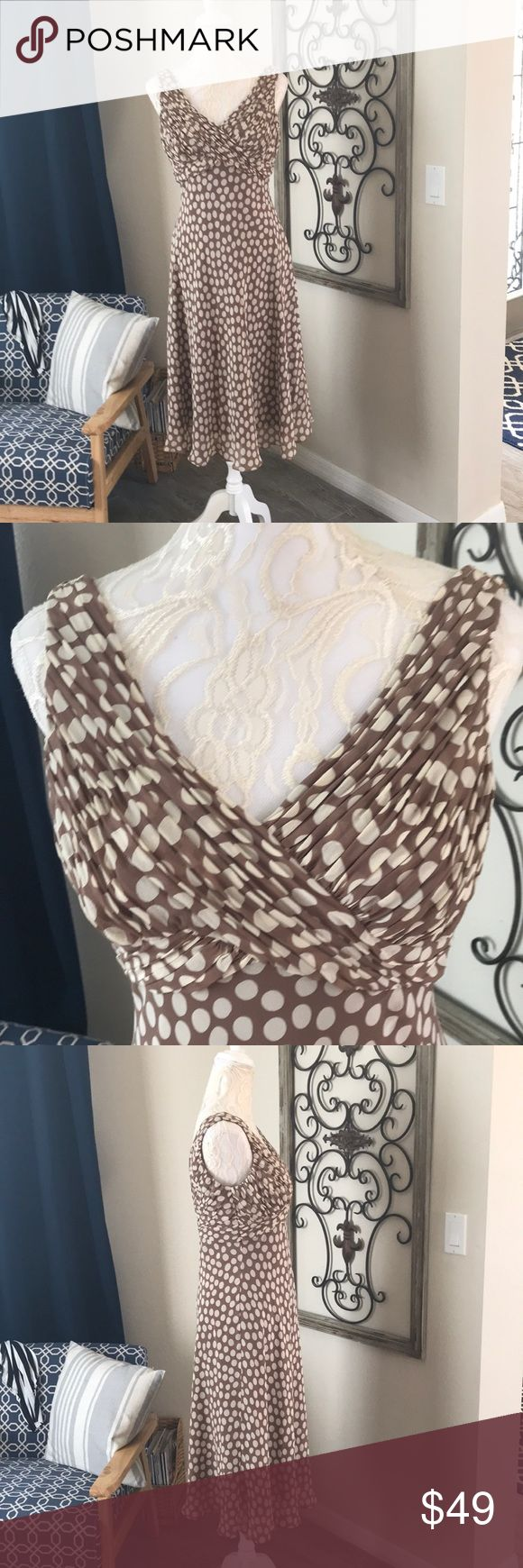 """Adrianna Papell Polka Dot Sundress A sweet milk chocolate brown Sundress with cream dots! Elegant and versatile, perfect as a summer wedding guest dress. Light and ethereal, floats on air silk, and no signs of wear. The skirt is full and perfect for dancing the night away. Gathered, V bodice front and back and a hook and eye and zipper closure in back too. Approximately 36"""" from underarm to hem. From a smoke free home. 🍷 Adrianna Papell Dresses"""