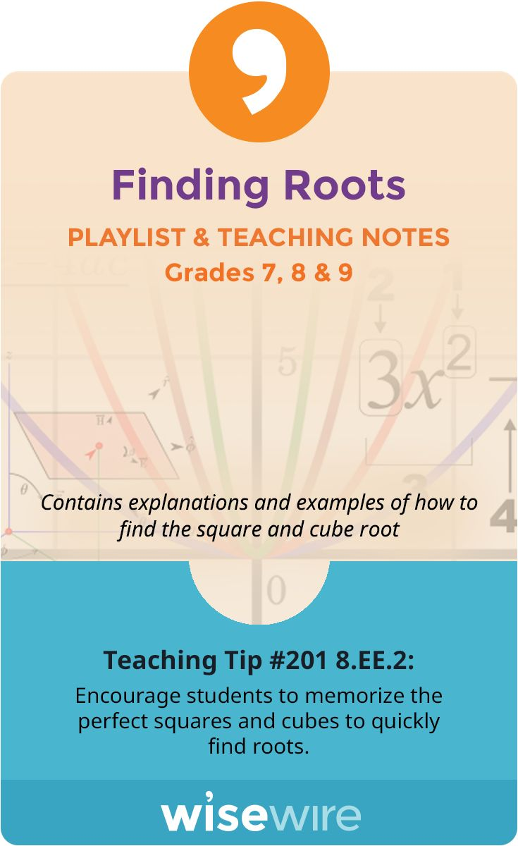 In this playlist, students explore standard 8.EE.2. They learn how to find square roots of numbers in the form x squared = p. Students are guided through examples of how to find cube roots of numbers in the form x cubed = p.. Students apply what they learned to determine that the square root of 2 is irrational. Students also have the option to view instructional videos and complete practice quizzes or activities. @WisewireEd