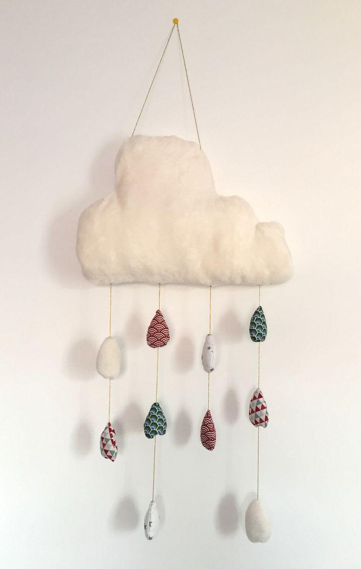 Suspension mobile nuage et gouttes : Jeux, peluches, doudous par fredlafait