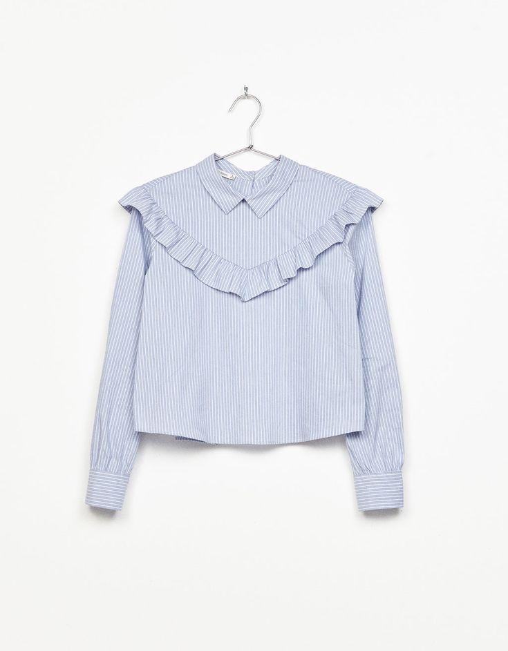 Striped blouse with frills - New - Bershka Turkey