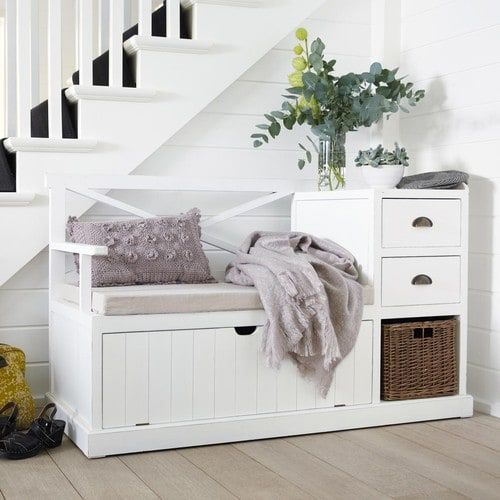 Mobile bianco da ingresso in legno L 135 cm