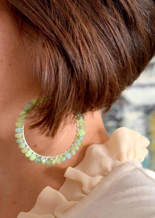 tutorial: Wire Earrings, Beads Earrings, Loops Earrings, Cute Earrings, Beads Hoop, Hoop Earrings, Earrings Tutorials, Aqua Loops, Diy Earrings